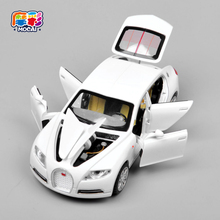 Hot sale Collectible Alloy Diecast toy Cars Model 1/32 Bugatti Veyron 16C Galibier w/light&sound Pull Back oyuncak children Toy