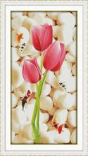 Needlework,DIY DMC Tulip Cross stitch, Modern Style Pattern Innovation Items, Wall Home Decro Hand Made Embroidery kits