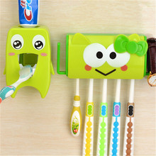LIYIMENG Multifunctional Cartoon Toothbrush Holder Storage Orgainzer Box Bathroom Accessories Suction Hooks Toothpaste Dispenser(China)