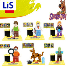 Lis 6pcs Cute Cartoon Movie Scooby Doo Dog The host Sharqi Building Assemble Doll 3D Model Bricks Blocks Kids Toy P027