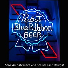 Pabst Blue Ribbon BEER Neon Sign Real Glass Tube Decorate Neon Bulbs Lamp INdoor a Frame Sign Tube Glass Neon Handcrafted 19x15(China)
