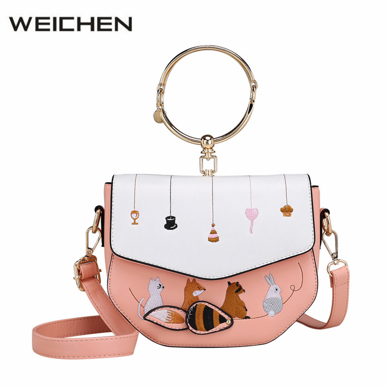 Women Crossbody Bag 2017 Lady Circle Ring Handle Womens Handbags Messenger Bags Animal Embroidery Shoulder Bag Sac Bolsos Tassen<br>