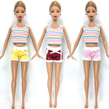 NK One Set  Doll Clothing Fashionable outfits Casual Pants Suits For Barbie Doll Best Gift Baby Toy Doll Accessories Child Toy