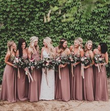 2017 dusty rose pink bridesmaid dresses sweetheart catch broken TD745 chiffon skirt long bridesmaid dress, wedding dress