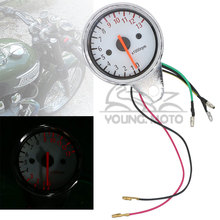 Universal Motorcycle Tacho Tachometer Gauge Chrome 13000RPM Red LED Backlight Set for Honda Kawasaki Yamaha Suzuki Triumph BMW(China)