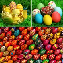 Easter Wooden Fake Artificial  Eggs Pretend Play Kitchen Food Cooking Children Kid Toy DIY painting for children presents