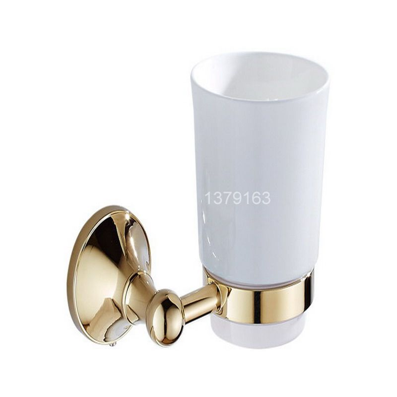 Luxury Gold Color Brass Bath Hardware Wall Mounted Single Tumbler Holder White Ceramics Toothbrush Cup Bathroom Accessory aba877<br>