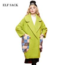 ELF SACK 2017 Fur Pockets Women Winter Wool Coats Womens Long Thick Loose Turn Down Collar Office Lady 100% Polyester Wool Coats(China)