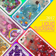 For iPhone 5S Case Glitter Beautiful Popular Colour Unicorn Dolphin 3D Print Quicksand Gift Phone Case For iphone 4S 4 5C 5(China)