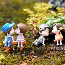 3Pcs Couple Lover and Chair Boy and Girl DIY Resin Fairy Garden Craft Decoration Miniature Micro Gnome Terrarium Gift F0852
