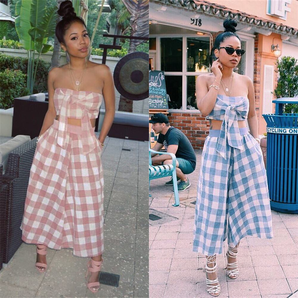 Two Piece Set Summer 2018 Sexy Tracksuit Strapless Plaid Top And Pants Women 2 Piece Set Tracksuit LS6094