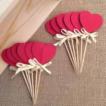 Bow&Double-Sided Red Heart Cupcake Toppers,Bridal Shower/Valentine Day/Wedding Party Decoration Favors Cake Decorations Picks(China)
