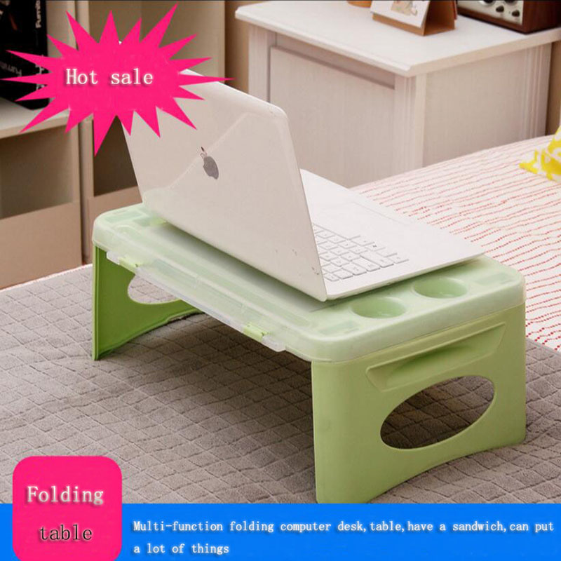 Folding laptop computer desk computer desk / mini coffee table storage plastic folding table and small notebook car learning<br>
