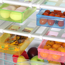 2018New Arrival Slide Kitchen Fridge Freezer Space Saver Refrigerator Storage Rack Shelf 4 Colors(China)