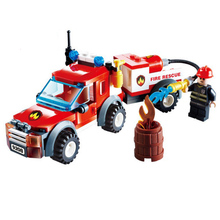 Fire Rescue Vehicle Truck Building Blocks Fireman Figures Toy Fire Helicopter DIY Brick Toys Children Assembly Model