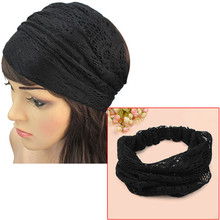 Korean Style Elegant Lady Crocheted Lace Head Wraps Wide Headband Turban Bandanas Stretch Girls' Hair Accessory 6 Colors