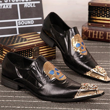 Fashion Skull Paillette Embroidery Men Real Leather Shoes Wedding Party Dress Shoes Metal Pointed Toe Men Flats Creepers Oxfords