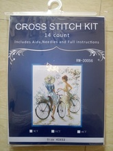 RW-30056 2016 counted cross stitch kits bicycle girls figure landscape house living room decoration needlework embroidery set(China)