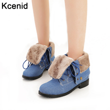 Kcenid Plus size 34-43 new women ankle boots lace-up low heels winter warmly shoes woman turned-over edge blue denim boots(China)