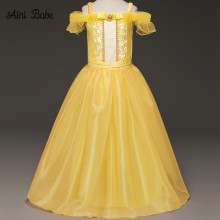 Girl Cartoon Fancy Dress Kid Yellow Off-Shoulder Princess Party Dress Beauty and The Beast Cosplay Costume Kids Long Dress(China)