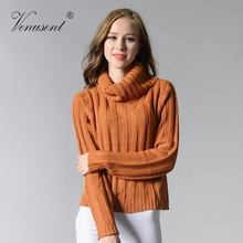 Thick Turtleneck Pullover Sweaters Full Sleeve Knitwear Casual Jumper Striped Women Clothing Solid Knitted Sweater Orange Color