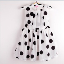 Kids Girls Chiffon Dress Cute Dot Pleated Sundress Bowknot Belt Dress Summer(China)