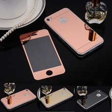2pcs/lot Front Back Rear Screen Protector Colorful Mirror Tempering Full Electroplate Tempered Film for iphone 4 4s 5 5s se 6 6s(China)