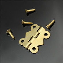 MTGATHER 10pcs Gold Mini Butterfly Door Hinges Cabinet Drawer Jewellery Box Hinge For Furniture Hardware(China)