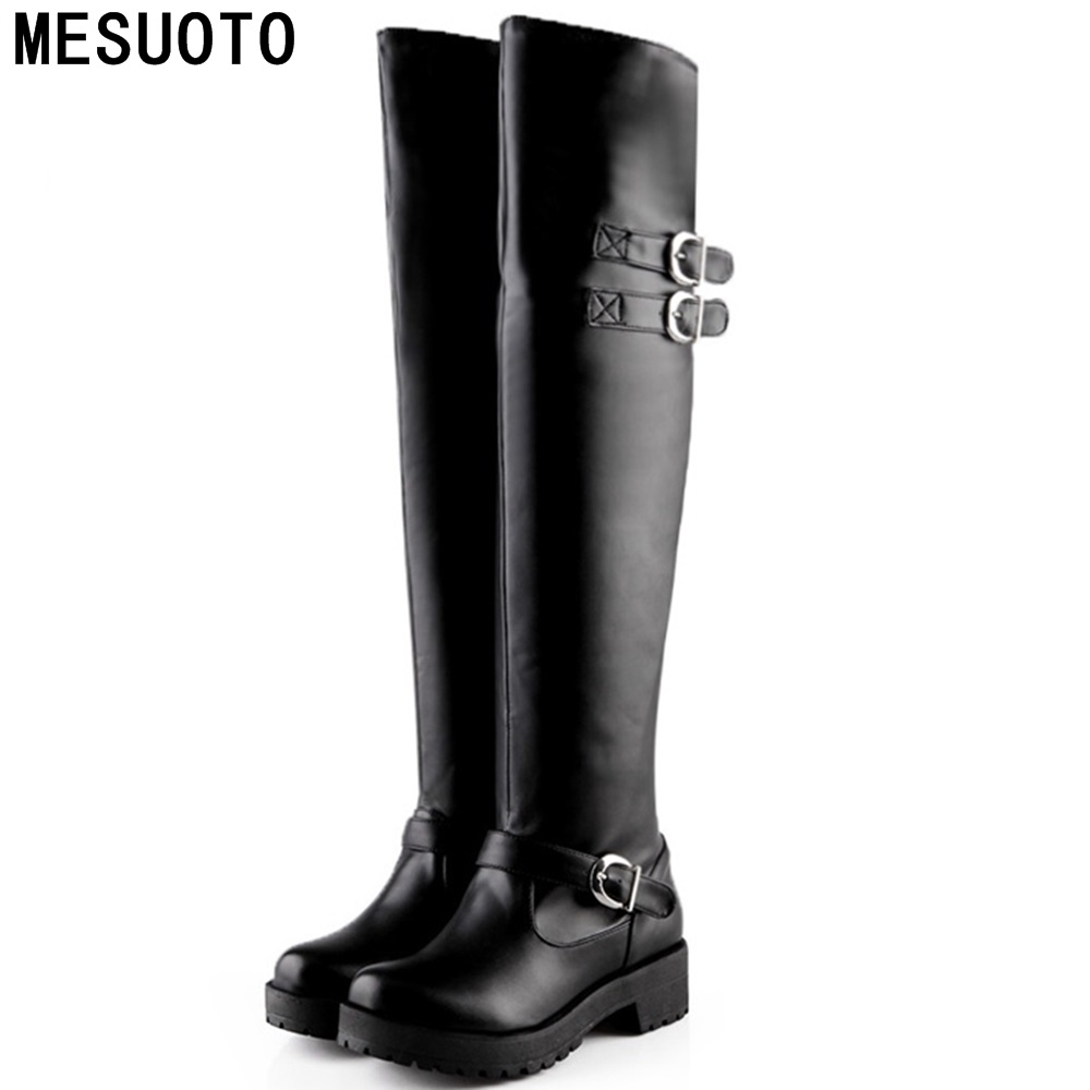 MESUOTO Casual Low Heels Non-Slip Bottom Buckle Faux Leather Black Over Knee High Boots Gladiator Roman Motorcycle Boot Womens<br><br>Aliexpress