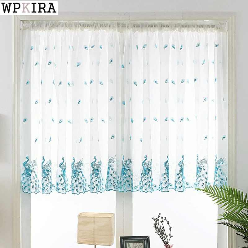 Short Curtain Embroidered Peacock Feather Sheer Tulle For Home Living Room Kitchen Door Balcony Window Screen Panel ST003&30