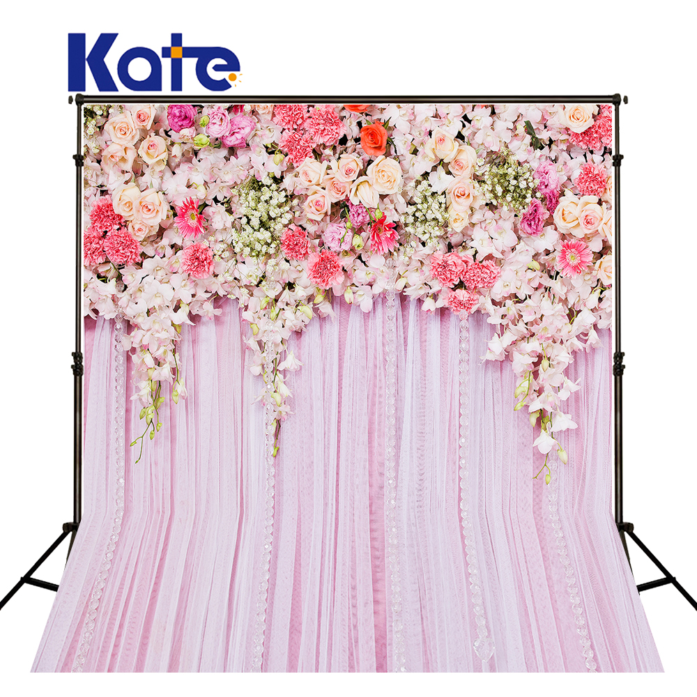 KATE Wedding Backdrops Photo Background Flower Wedding Backdrop Flower Pink Curtain Romantic Backgrounds Pastel Pink Background<br>