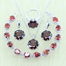 Reginababy Silver color Red created Garnet Jewelry Sets For Women Crystal Earrings/Bracelets/Necklace/Ring/Pendant