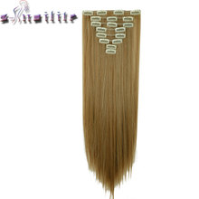 S-noilite 17-26 inches 8Pcs/Set Full Head Clip in Hair Extensions Real Natural Synthetic Hair 18 Clips ins Hairpieces