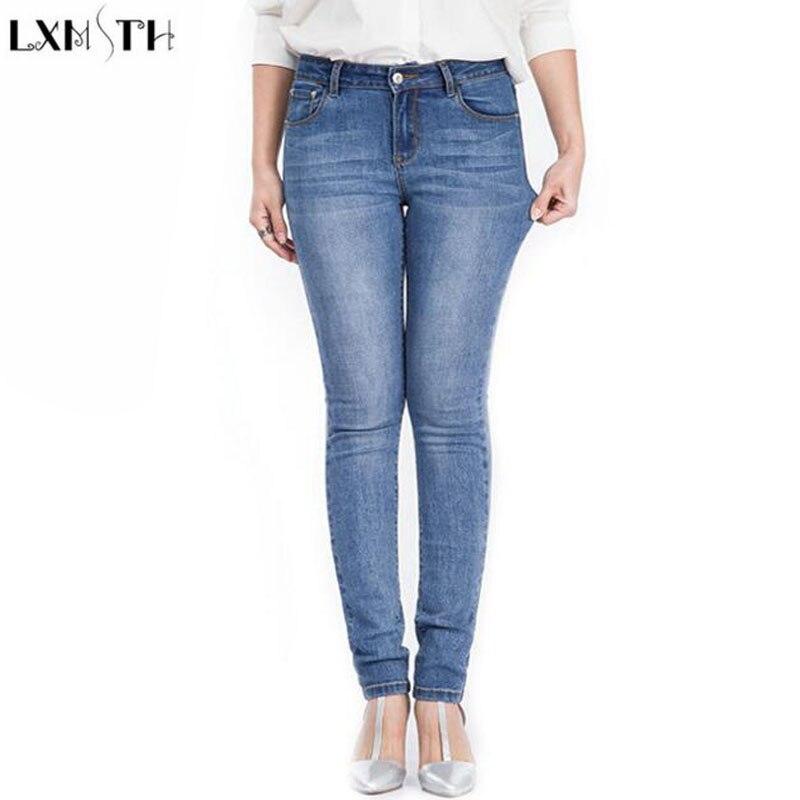 LXMSTH Pencil Woman jeans High Quality Autumn 2017 Plus Size Slim Women Stretch jeans Pants Casual High Waist  Denim TrousersÎäåæäà è àêñåññóàðû<br><br>