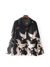 BB38-7417 fashion wind crane positioning printed shirt(China)