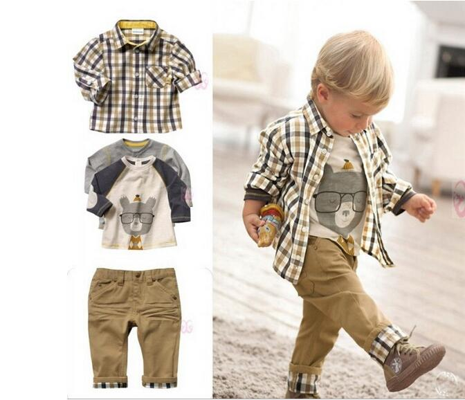 Yacodi 2017 spring kids clothing boys clothes cotton plaid blouse+t shirt+pant 3 sets cartoon casual style baby boy clothing set<br><br>Aliexpress