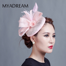 MYADREAM Solid Color Linen Box Fedora Chapeau Femme Wedding Party Flower Hair Clip Hats for Women Handmade Chapeau Mariage Hat(China)