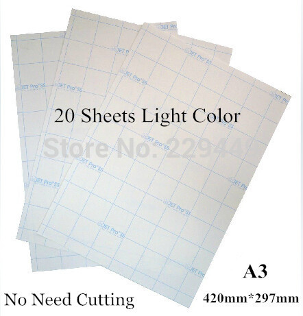 A3*20pcs Light Color No Need Cutting Laser Heat Thermal T shirt Transfer Paper With Heat Press Heat transfers For Clothes(China)