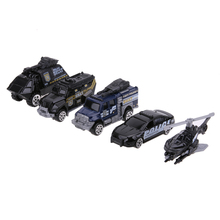 5Pcs/Lot Mini 1:64 Scale Alloy Police Car Models Toy Baby Boys Cool SWAT Police Cars Model Cool Mini Table Toy Set