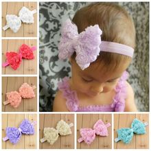 Bebe Girl Chiffon Lace Flower Bow Headband Elastic Hairband Cute Girls Hairbow Hair Accessories Girl Headwrap bandeau bebe(China)