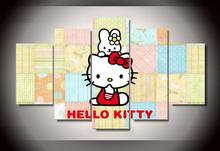 5 Panel Cartoon Animals Hello Kitty Modern Home Wall Decor Canvas Picture Art HD Print Painting On Canvas For Living Room Frame