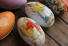 Big sizeTin box Easter Egg shaped Rabbit various pattern Fashion easter eggs tin storage candy box event party favors