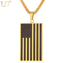 U7 American Flag,USA Patriot Freedom Stars and Stripes Dog Tag Pendant Necklace,Gift,Men Jewelry,Gold Color Stainless Steel,P72