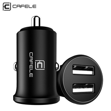 CAFELE luxury Car Charger Dual USB output 4.8A fast charging Aluminium Alloy Phone Car Cigar Lighter DC 12-24V Phone Charger(China)