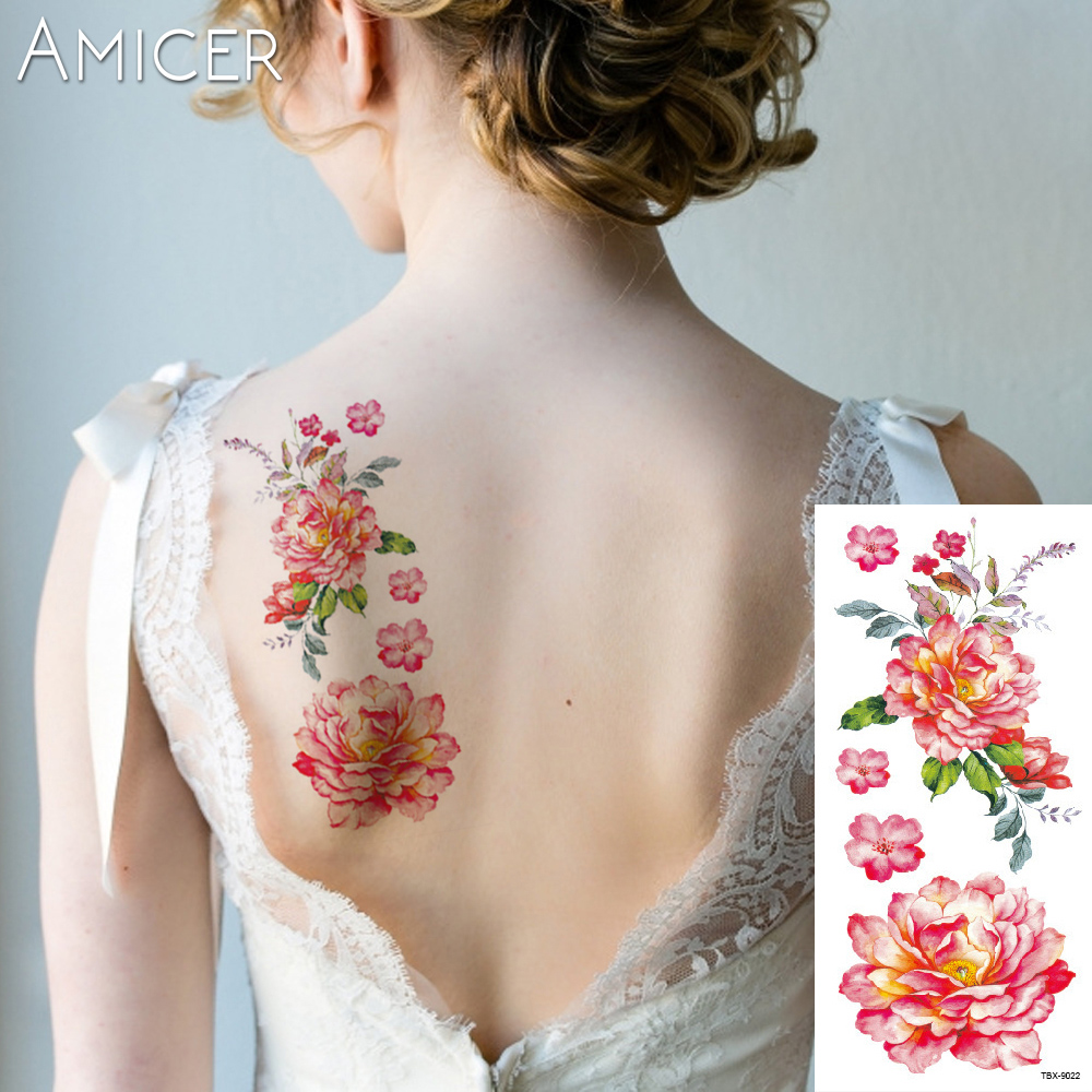3D lifelike Cherry blossoms rose big flowers Waterproof Temporary tattoos women flash tattoo arm shoulder tattoo stickers 5
