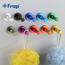 Frap Colorful Wall Hook Clothes Hanger Bathroom Kitchen Towel & Clothes Coat Aluminum Metal Robe Hooks Bathroom Accessory F202(China)