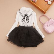 Kids Baby Girls White Red Shirts Clothes 2017 Spring Fall School Girl Blouse Tops Chiffon Bow Long Sleeve Girls Blouses JW1567A(China)