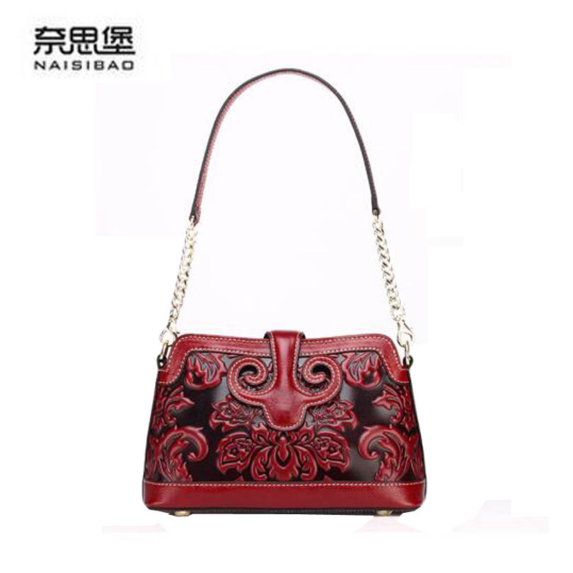2016 New genuine leather women bag brands cowhide fashion chains quality embossing women leather shoulder messenger  bag<br><br>Aliexpress