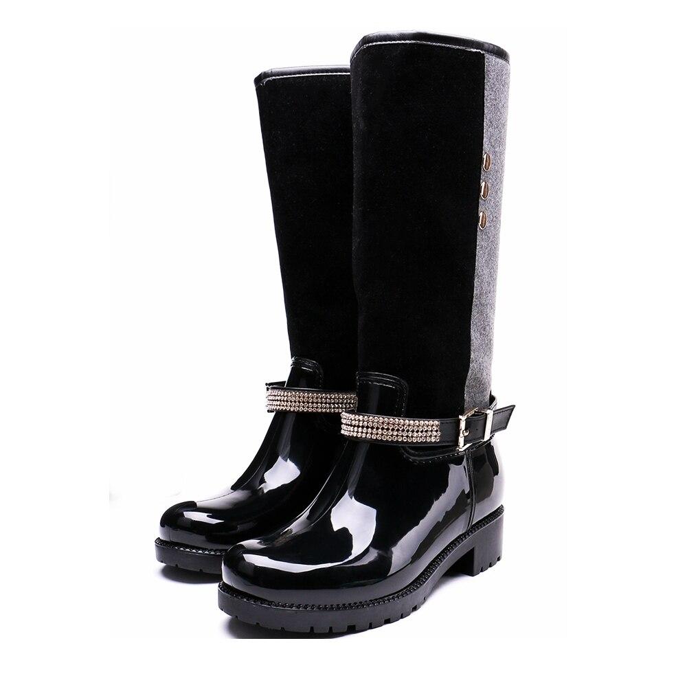 TONGPU Contrast Color Rhinestone Belt &amp; Buckle Knee-High Womens Waterproof Rain Boots 20-395<br>