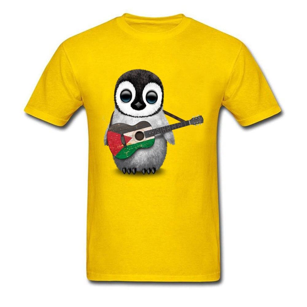Comics Summer T Shirt Short Sleeve for Men Pure Cotton Summer/Autumn Crew Neck T Shirts Print T-shirts Coupons Baby Penguin Playing Palestinian Flag Guitar yellow